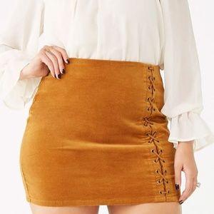 Forever 21 | Plus Size Lace Up Velvet Skirt 3X